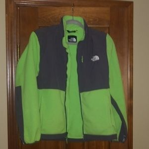The North Face Lime green and grey fleece jacket